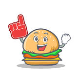 Foam finger burger character fast food. Vector art Stock Photography