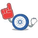 Foam finger Cardano coin character cartoon. Vector illustration Royalty Free Stock Photos