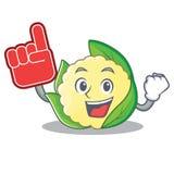 Foam finger cauliflower character cartoon style. Vector illustration Stock Photo