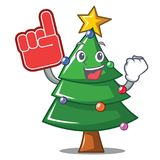 Foam finger Christmas tree character cartoon. Vector illustration Royalty Free Stock Photography