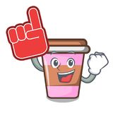 Foam finger coffee cup mascot cartoon. Vector illustration Stock Photos
