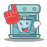 Foam finger coffee maker character cartoon. Vector illustration Stock Images