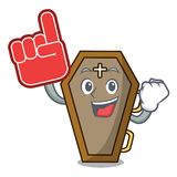 Foam finger coffin mascot cartoon style. Vector illustration Royalty Free Stock Photos