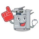 Foam finger copier machine next to character chair. Vector illustration stock illustration