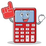 Foam finger cute calculator character cartoon. Vector illustration Stock Photo