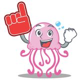 Foam finger cute jellyfish character cartoon. Vector illustration Royalty Free Stock Photo