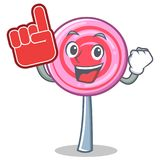 Foam finger cute lollipop character cartoon. Vector illustration Stock Photography