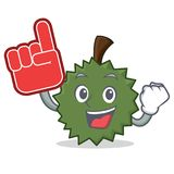 Foam finger Durian mascot cartoon style. Vector illustration Stock Images