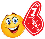 Foam finger emoticon. Design of an emoticon with foam finger Royalty Free Stock Photos