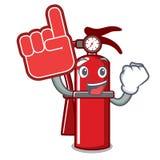 Foam finger fire extinguisher mascot cartoon. Vector illustration Stock Photos