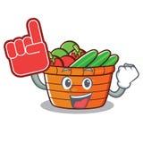 Foam finger fruit basket character cartoon. Vector illustration Royalty Free Stock Photos