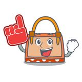 Foam finger hand bag mascot cartoon. Vector illustration Royalty Free Stock Photo