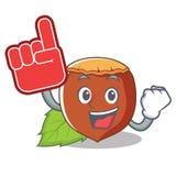 Foam finger hazelnut mascot cartoon style. Vector illustration Stock Photography