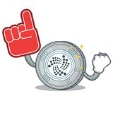 Foam finger IOTA coin character cartoon. Vector illustration Royalty Free Stock Photography
