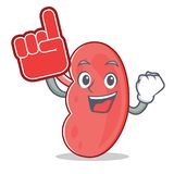 Foam finger kidney mascot cartoon style. Vector illustration Royalty Free Stock Images