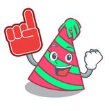 Foam finger party hat mascot cartoon. Vector illustration Stock Image