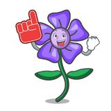 Foam finger periwinkle flower mascot cartoon. Vector illustration Royalty Free Stock Photography