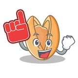 Foam finger pistachio nut mascot cartoon. Vector illustration Royalty Free Stock Photography