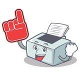 Foam finger printer mascot cartoon style. Vector illustration Royalty Free Stock Images