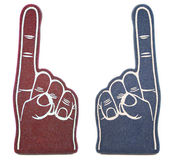 Foam Finger Rivals. No. 1 foam finger fan toy from two rival schools or teams. This is a real tool to show team or school spirit Stock Photos