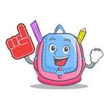 Foam finger school bag character cartoon. Vector illustration Stock Image