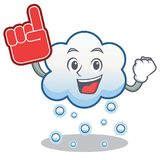 Foam finger snow cloud character cartoon Royalty Free Stock Image