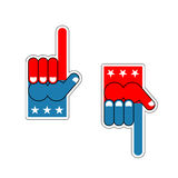 Foam Finger USA patriot. American sports symbol. Expression of e Stock Photos