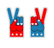 Foam Finger victory. Symbol of USA Patriot. American sports sign. Expression of emotions. Pattern of flag of America. Signet Event Stock Images
