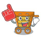 Foam finger wooden trolley mascot cartoon. Vector illustration royalty free illustration