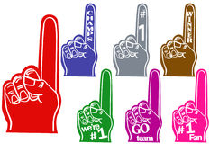 Foam fingers. Use for sports teams and cheers Royalty Free Stock Photo