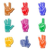 Foam fingers colorful icon set Stock Photography