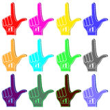 Foam Fingers Silhouettes Royalty Free Stock Photography