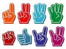 Foam fingers vector set Royalty Free Stock Photo
