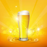 Foam on the glass with beer. Stock . Royalty Free Stock Images
