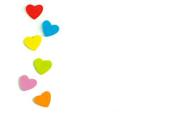 Foam heart shapes on white background as design. For Valentine`s Day Stock Photography