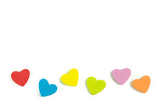 Foam heart shapes on white background as design. For Valentine`s Day Royalty Free Stock Image