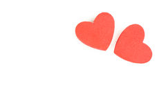 Foam heart shapes on white background as design for Valentine`s Day. Stock Photography