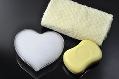 Foam heart and soap Royalty Free Stock Photo