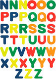 Foam Letters N to Z. Foam alphabet letters with three different colors for each letter Royalty Free Stock Photography