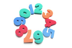 Foam Numbers Arranged in Circle. On White Background Royalty Free Stock Photos