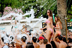 Foam Party. On the beach in Igalo, Montenegro, 26.07.2014. Group of people enjoying in drinking, dancing and  music Royalty Free Stock Photo