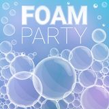 Foam party concept background, cartoon style vector illustration