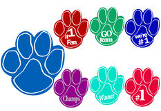 Foam paws. Team cheer with sports slogans Stock Image