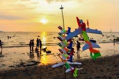 Foam plane and sunset beach at Bangsaen, Chonburi, Thailand Stock Photos