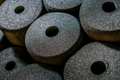 Foam  in porous disks on the factory stock Royalty Free Stock Images