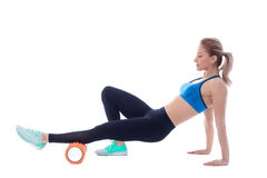 Foam Roller Exercises Royalty Free Stock Images