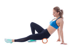 Foam Roller Exercises royalty free stock photography
