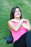 Foam Roller. Woman using a foam roller after a workout Stock Photo