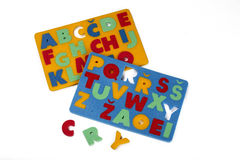 Foam rubber toys - alphabets Stock Photography