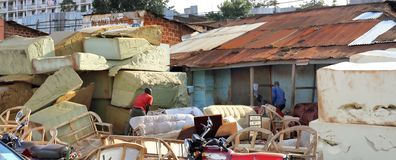 Foam sales shop in Africa. Foam for sale along the road side at a shop in Kampala, Uganda stock photo